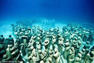 Friday Finds 2.11.11 - Photo 3 of 5 - The Museum of Underwater Modern Art in Mexico is comprised of lifesize cement sculptures, all created by Jason deCaires Taylor