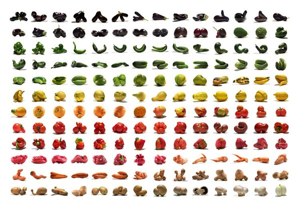 Mutatoes is a vivid and colorful collection of funny fruits and vegetables.