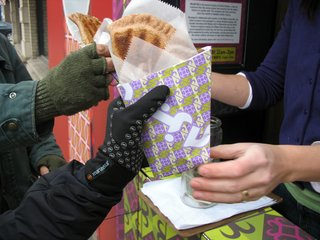 Bolani is an Afghan turnover filled with either pumpkin, spinach, lentils, or potatoes and leeks. It's packaged in a custom-designed wrapper that includes interviews with Afghans both in Afghanistan and the United States on subjects ranging from Afghan food and culture to the current geopolitical turmoil.