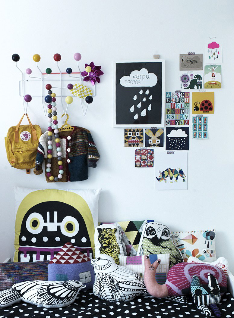 "Varpu's bed is piled with a motley assortment of plush cushions: ""I love pillows and can't resist when I see a nice one. Children love them too.""  Don't miss a word of Dwell! Download our  FREE app from iTunes, friend us on Facebook, or follow us on Twitter! Tagged: Kids Room, Bedroom, and Bed. Fine Finnish - Photo 16 of 16"