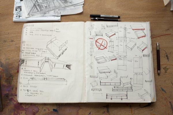 Hale's sketchbook shows working furniture ideas.