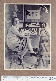 Art and Fashion by Sonia Delaunay - Photo 1 of 15 - Sonia Delaunay in her studio at boulevard Malesherbes, Paris, France, 1925. Photographed by Germaine Krull (German, 1897–1985). Bibliothèque Nationale de France. © L & M SERVICES B.V. The Hague 20100623.
