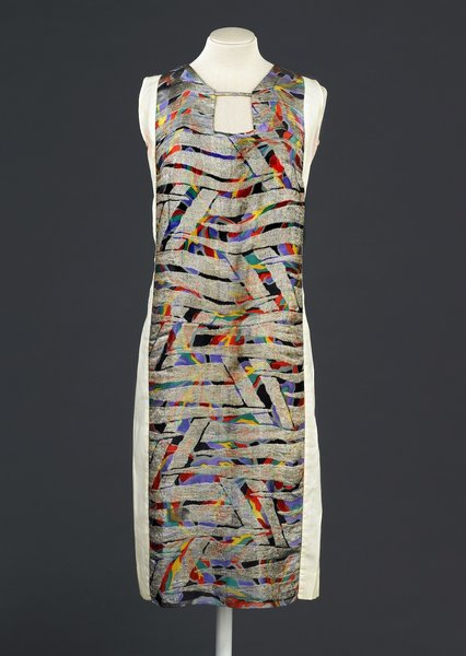 Dress, designed by Sonia Delaunay, France, 1925-28. Printed silk satin with metallic embroidery. Musée de la Mode de la Ville de Paris, Galliera. © L & M SERVICES B.V. The Hague 20100623.