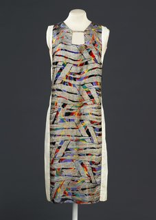 Art and Fashion by Sonia Delaunay - Photo 4 of 15 - Dress, designed by Sonia Delaunay, France, 1925-28. Printed silk satin with metallic embroidery. Musée de la Mode de la Ville de Paris, Galliera. © L & M SERVICES B.V. The Hague 20100623.