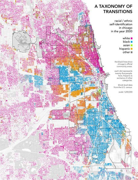 A Taxonomy of Transitions show the demographic breakdown of Chicago, Illinois. Maps like these help planners and policy makers understand their cities better. From Radical Cartography.