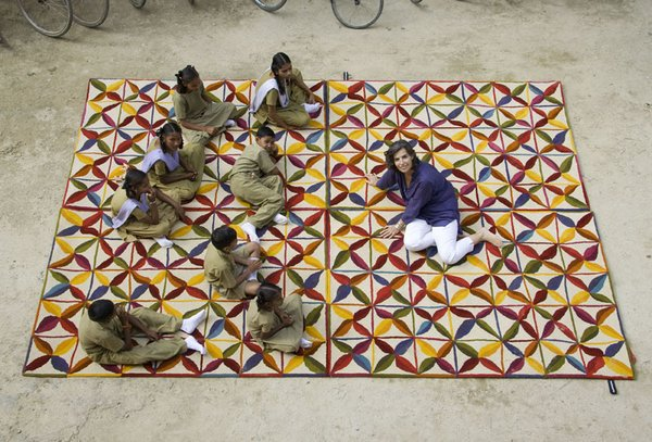 Nani Marquina, and some of the students at the Amita Vidyalaya school in Bhadohi, India.