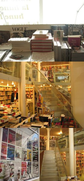 This photo, taken from designtaxi.com, shows off three views of Paris's Librarie la Hune.