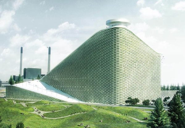 "Copenhagen's future waste-to-energy plant features the a ski slope and a smokestack that will blow ""rings"" of CO2, which each represent one ton of emissions. Combining a environmentally sustainable building with a social program—the ski slope—represents Ingels' theories of ""hedonistic sustainability"" and ""bigamy."" Photo via B.I.G."