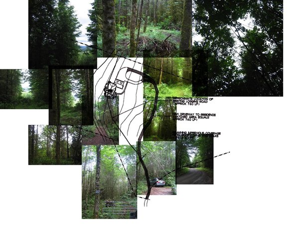 Collage of site photos overlaid on top of previous owner's site plan. Site was unoccupied when purchased.