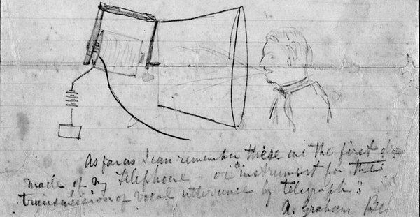 This is believed to be the first sketch of Alexander Graham Bell's telephone system, which was originally conceived as simply an improvement on the existing telegraph.