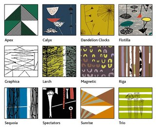 The Centre for Advanced Textiles' gallery of reproduced textiles by 1950s designers Lucienne Day, Robert Stewart and Sylvia Chalmers. Image via The Centre for Advanced Textiles.