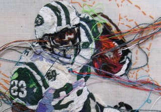 A detail of Shonn Greene by artist Lauren DiCioccio, which shows the intricate embroidered patterns employed in her work. Image courtesy of the artist and the Jack Fischer Gallery.