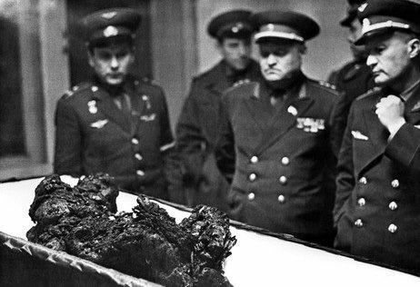 Vladimir Komarov's remains in an open casket.
