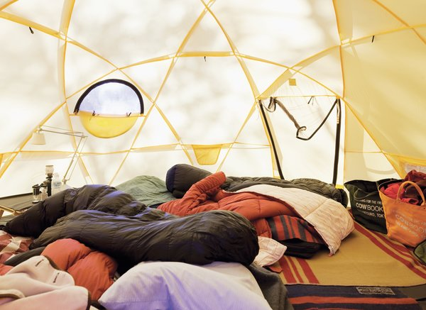 Inside one of the Kobayashis' North Face tents.