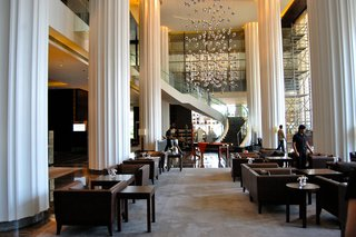 Touring India - Photo 11 of 27 - The grand lobby of the Marriott in Pune is in direct contrast to it's surroundings. It's one of many new luxury hotels popping up in the city, which is a growing tech hub.