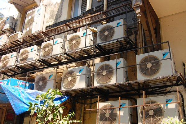 Things as everyday as air conditioning fans create interesting grid patterns.