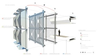 HelioTrace Robotic Facade - Photo 1 of 4 - An exploded view of the three-part system. © SOM.