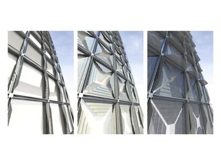 HelioTrace Robotic Facade - Photo 4 of 4 - Three stages of shade deployment, from fully open to nearly closed. © SOM.