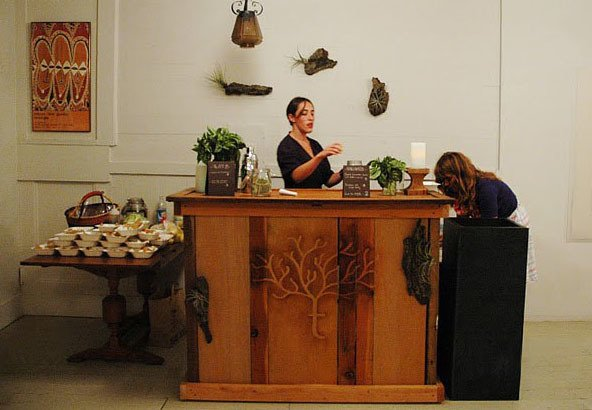 Maggie Wilson of Maggie Wilson Events prepares and serves treats sourced from the Treehouse urban garden.