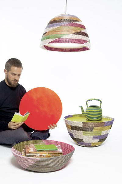 Stephen Burks, Single Basket Lamps & Basket Tables with Daniel, 2010. Photo by Daniel Hakansson.