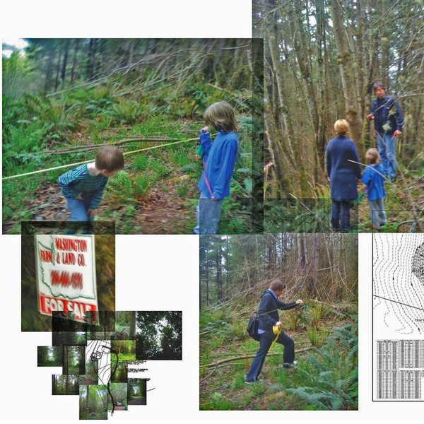Scenes from the site visit with Olson Kundig. Top left: Jack (left) and Henry (right) check out the proposed outline of the house. Tom Kundig explains prospect and refuge to Kim and Henry. Bottom left: the property sign outside the entrance to the site. Bottom, project architect Edward LaLonde helps tape out the slope edge of the future residence.
