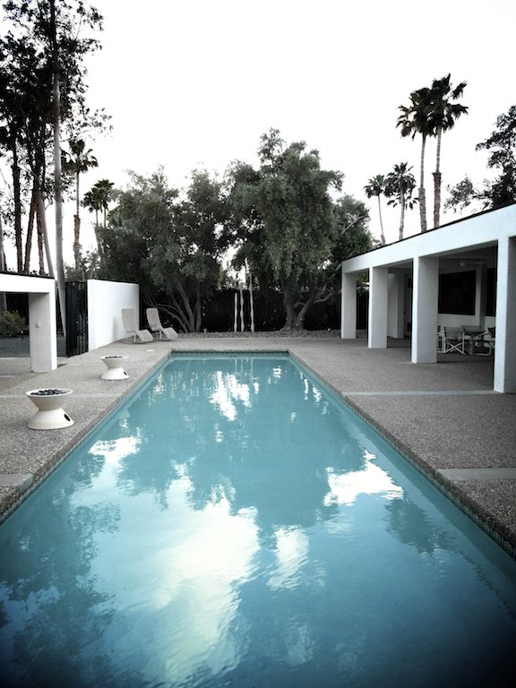 Here's another house we visited, a long white rectangle with a killer pool between the house and the street. Borrego Springs has lots of pools, but this one somehow seemed equally useful for swimming a few laps and lolling with a cocktail.