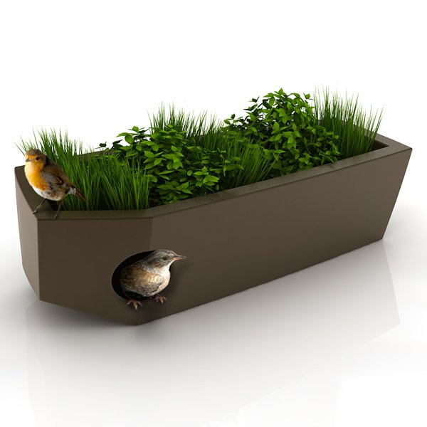 "Pousse Creative's design for a birdhouse with a ""green roof."""