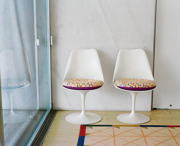needlepoint seating pads on the Tulip chairs Photo 13 of Miller House in Columbus, Indiana by Eero Saarinen modern home