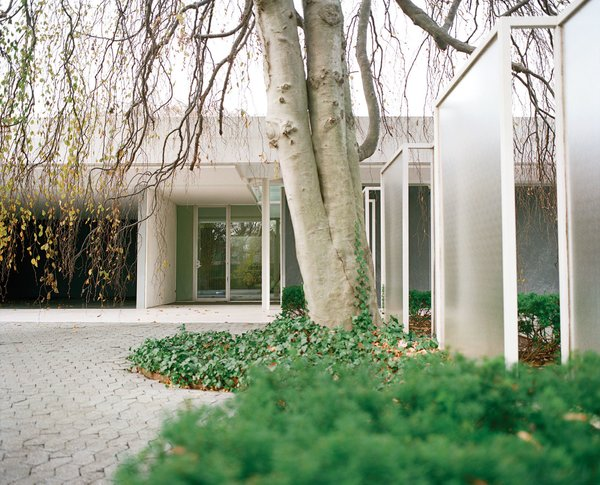 The front entrance of the Miller House is flanked by a series of glass screens, designed by either Dan Kiley or Girard. Photo 19 of Miller House in Columbus, Indiana by Eero Saarinen modern home