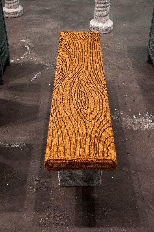 Vincent's attention to details is even present in the stitched wood grain of his locker room benches.  Nathan Vincent's Locker Room by Bradford Shellhammer