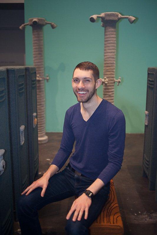 The artist sitting in his Locker Room.  Nathan Vincent's Locker Room by Bradford Shellhammer