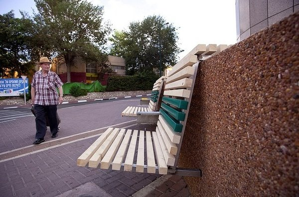 An example of the newly installed benches outside the Tower building.