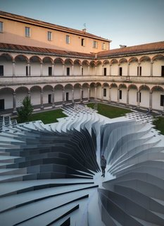 "Remembering Zaha Hadid - Photo 5 of 9 - Zaha Hadid Architects teamed with LEA Ceramiche to create ""Twirl,"" a mesmerizing installation in the 18th-century courtyard of the State University in Milan. It was up for only a week and has since been disassembled, but since I just received some beautiful pictures of the piece I figured I'd share."