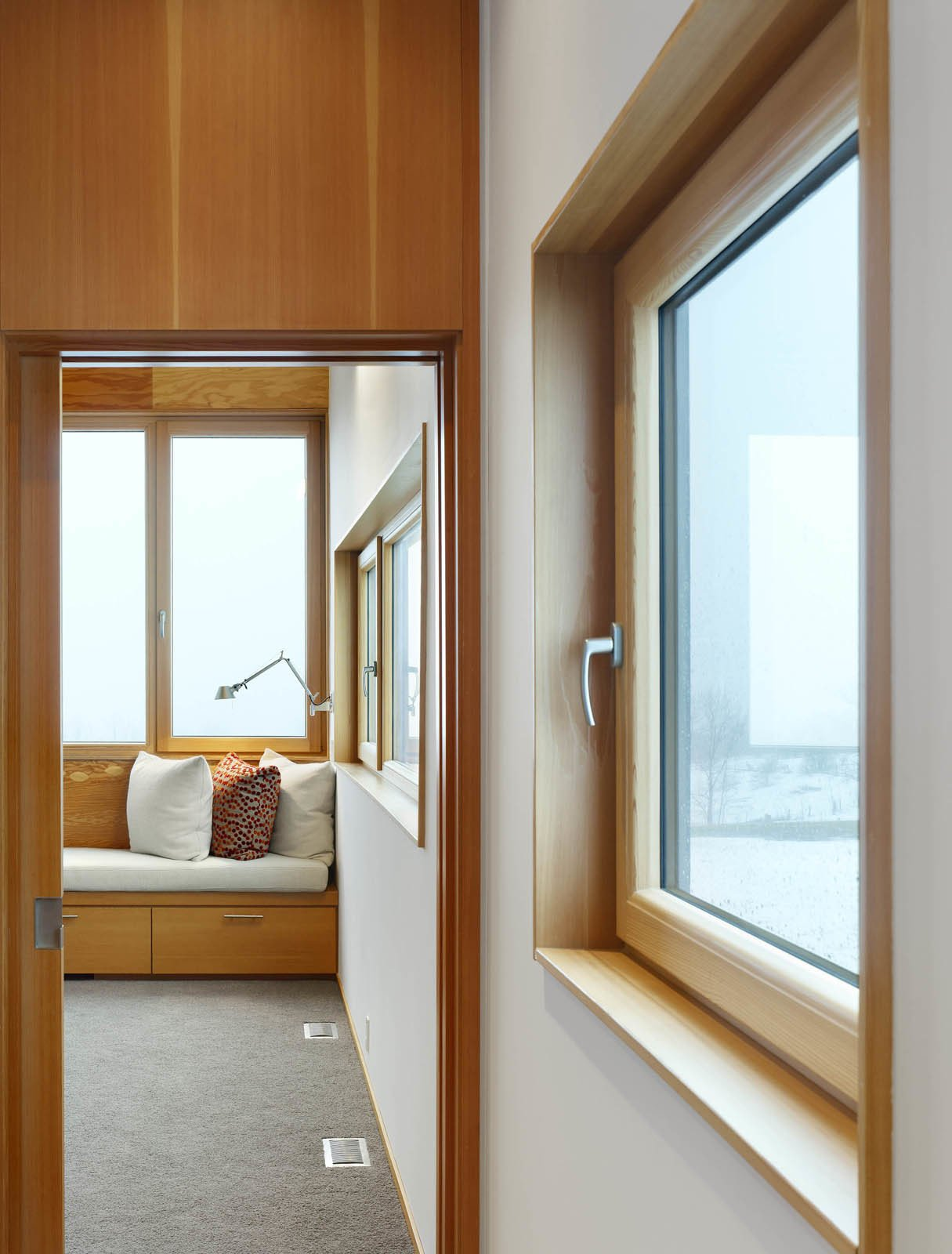 The second floor features the master bedroom and bathroom. From certain spots in the house—and on clear days—Lake Ontario can be seen in the distance (five miles away).  The Farm by Miyoko Ohtake