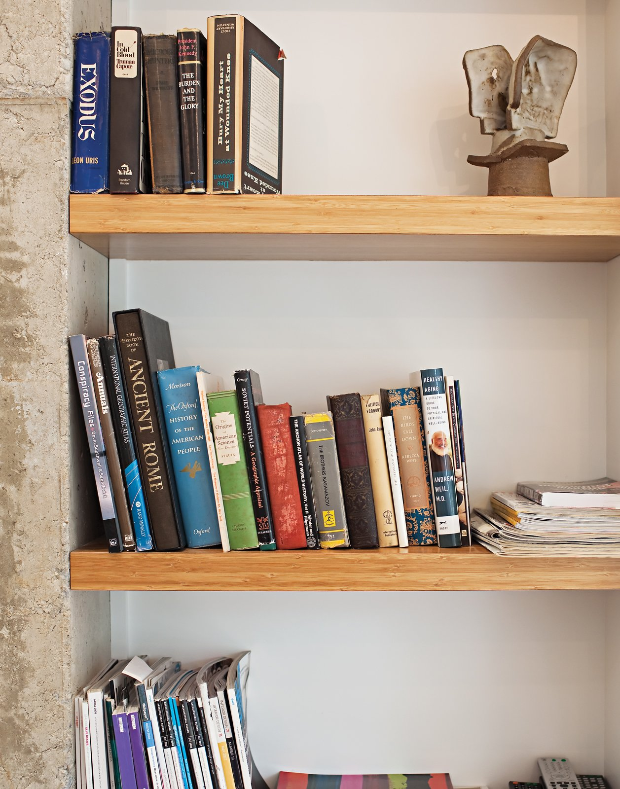 A close-up of the bookshelves made of MDF clad in bamboo veneer. Tagged: Storage Room and Shelves Storage Type. Come Sail Away - Photo 7 of 25