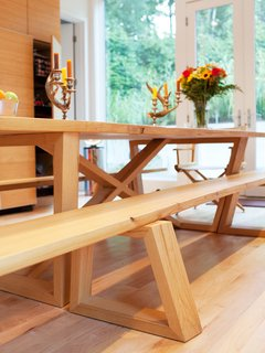 A closer look at the dining table and bench joinery.
