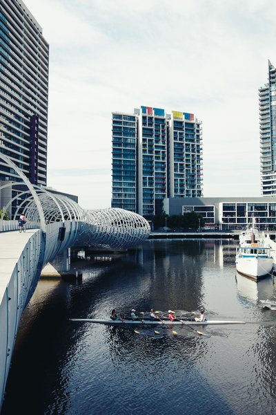 Docklands, a large new development just west of the Central Business District, is a big space full of big buildings that hopes to attract tenants—–residential and commercial alike—in part through design. The Webb Bridge by Denton Corker Marshall is meant to mimic an aboriginal eel trap and is a fine addition to the neighborhood.
