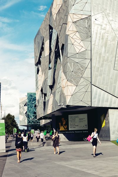 Federation Square, a giant public plaza on the banks of the Yarra, manages to be both very high public design and a space where Melbourne actually gathers. The complex of buildings, by LAB Architecture, was the firm's first built work.