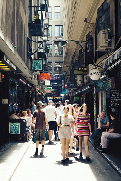 Cheaper rents and a populace with a rather lively sense of discovery have helped catapult Melbourne's previously disused laneways to the fore of the city's life. Now, an average afternoon stroll through the Central Business District requires a quick dodge into a passageway like Centre Place for a quick coffee or a bit of people watching.