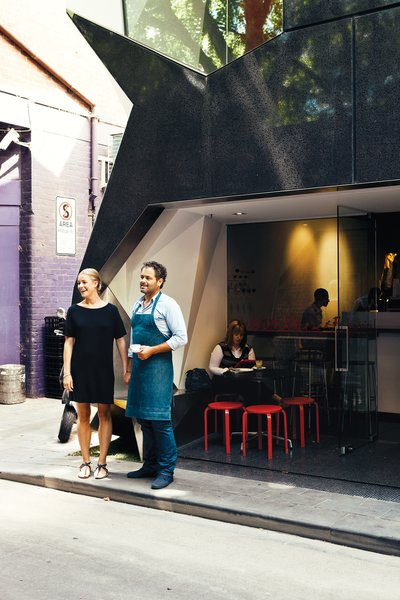 Melbournians take their food and drink as seriously as their design. Cafes, bars, and restaurants that pay as much attention to what's on the menu as what surrounds it abound. Liaison Cafe has a friendly, well-executed interior tucked away on tiny Ridgeway Place. It's on the bottom floor of the geometric Monaco House by architects McBride Charles Ryan.