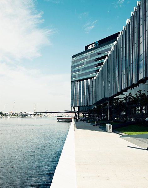 The headquarters of ANZ Bank are one of the big commercial anchors of the Docklands neighborhood. Its riverside location and large campus make it a fine addition to the rapidly developing part of town.