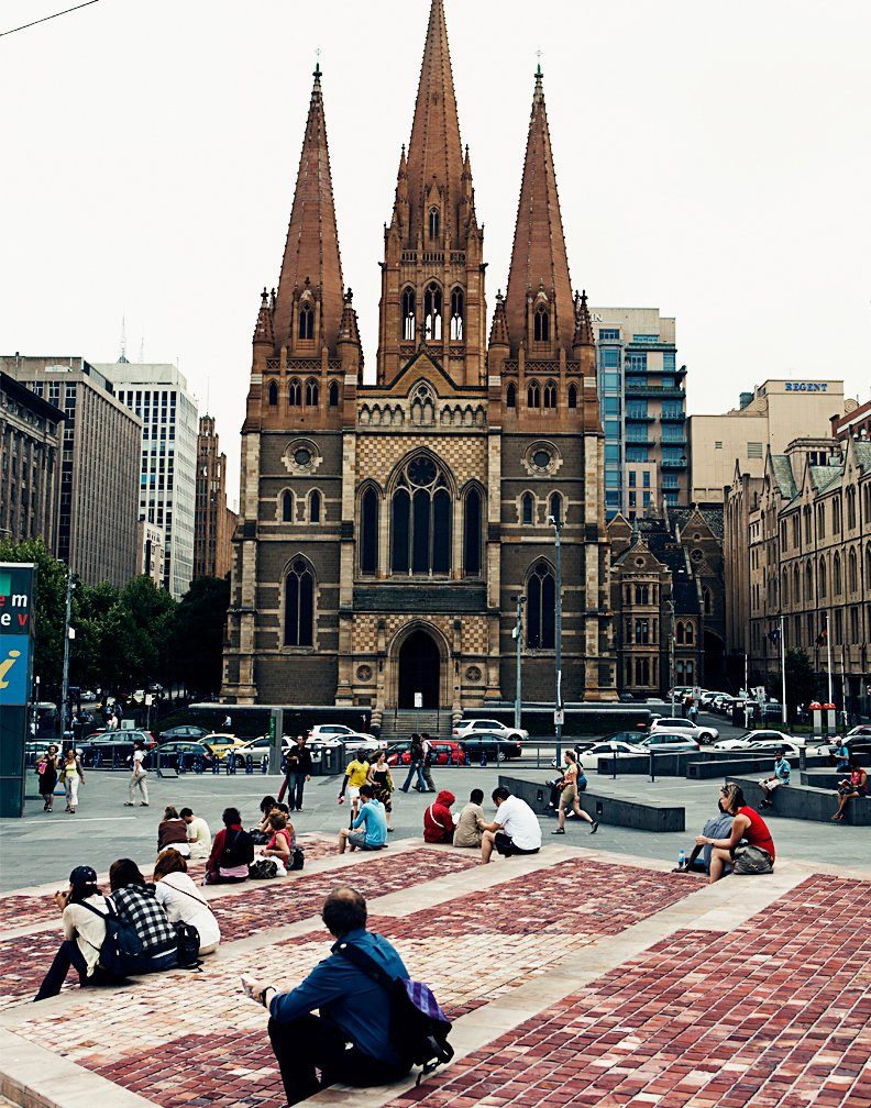 Federation Square and view of cathedral  Photo 16 of 24 in Exploring Melbourne, Australia