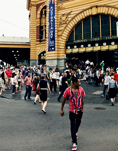 Flinders Street Station, just near Federation Square and St. Paul's Cathedral, is one of the city's main transit hubs.