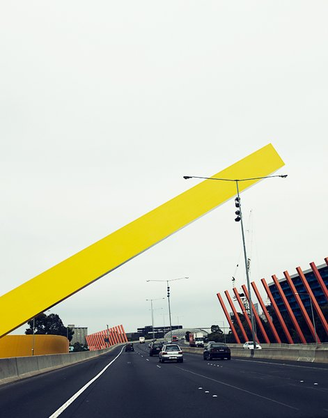 The Citylink Freeway has all manner of massive sculpture and public art along it. This sculpture, which welcomes drivers to Melbourne, is by the architecture firm Denton Corker Marshall and went up in 1999.