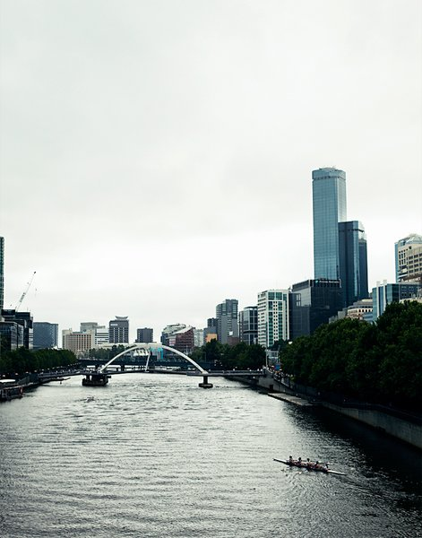 The Yarra River cuts right through town, as seen from this view from Swanston Bridge.