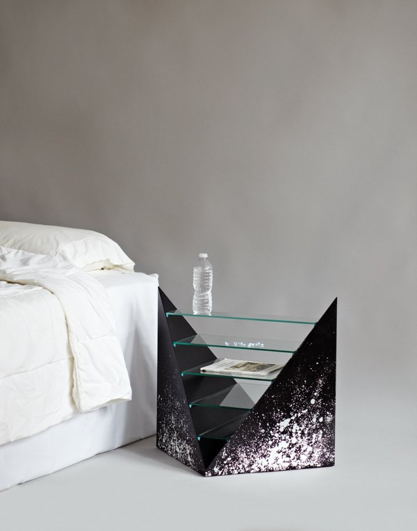 A sharp-edged nightstand by Rafael de Cardenas and Evan Gruzis, made from paint, MDF, and glass, puts everything on display.  Don't miss a word of Dwell! Download our  FREE app from iTunes, friend us on Facebook, or follow us on Twitter!  The Nightstand, Reinvented by Jaime Gillin