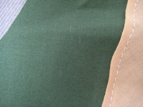 Close up of the sewing machine stitches.