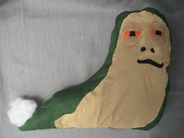 Stuff Jabba through the small, unstitched hole you left.