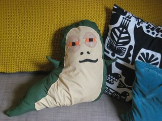 Jabba the Hutt Pillow - Photo 21 of 21 - And here's Jabba, just chilling with his new pillow pals in his new home, my sofa. I have to admit, just looking at him makes me laugh, and he's actually a comfy addition to the living room scene.