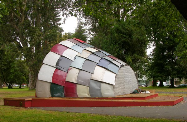 Another blast from the past is the Panhandle Bandshell, a performance space built, with REBAR, out of almost exclusively recycled materials. That includes 65 automobile hoods, hundreds of computer circuit boards, and 3,000 plastic water bottles.